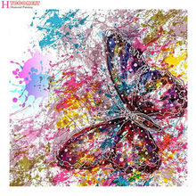 1a9275135e 5D Full Square diy hand made diamond embroidery mosaic painting kits wall  cross sticker graffiti butterfly picture home Decor