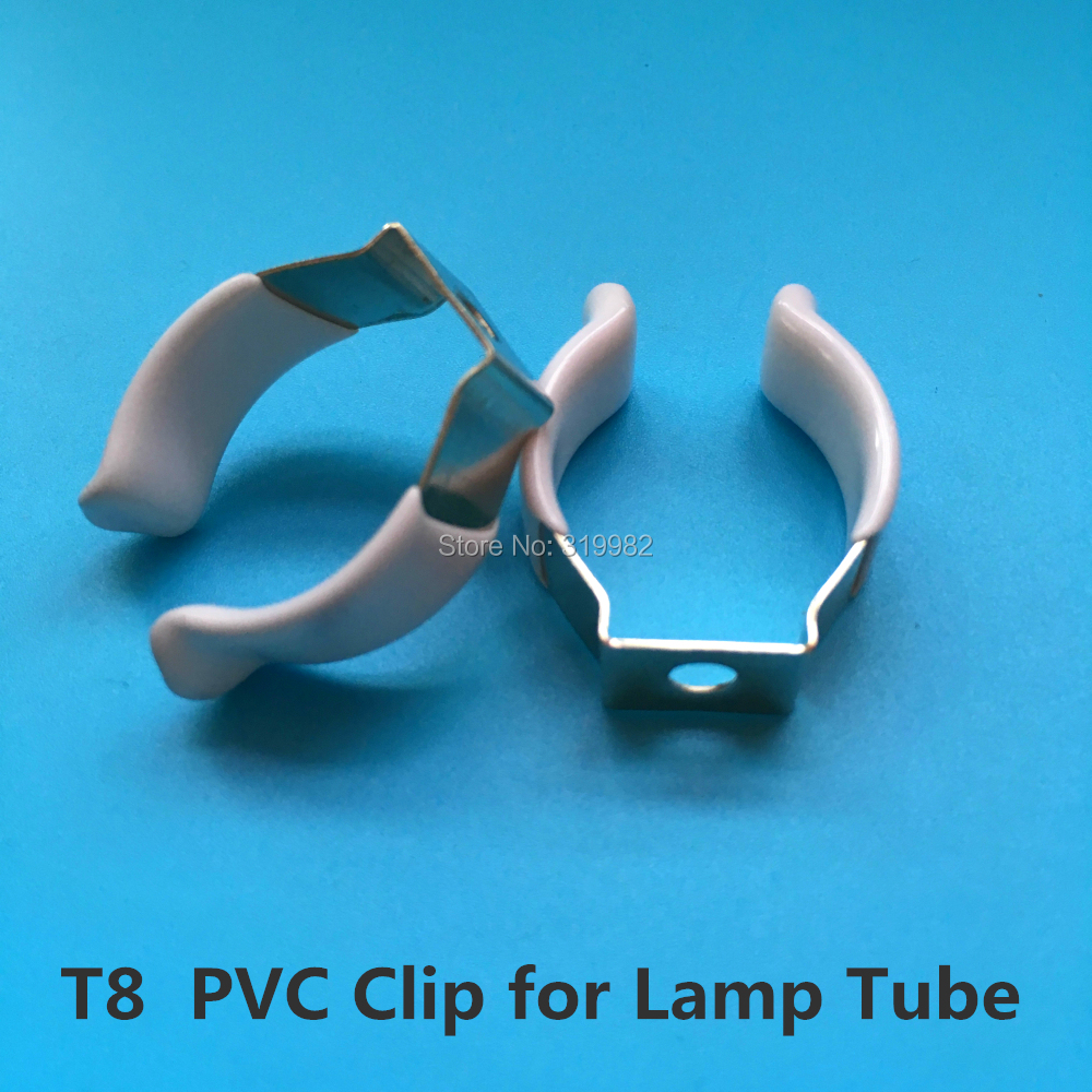 50 PCS T8 PVC U Clip Wedge Tube Lamp Base Strong Holder Connector Metal with White Cover surface for LED Fluorescent Light