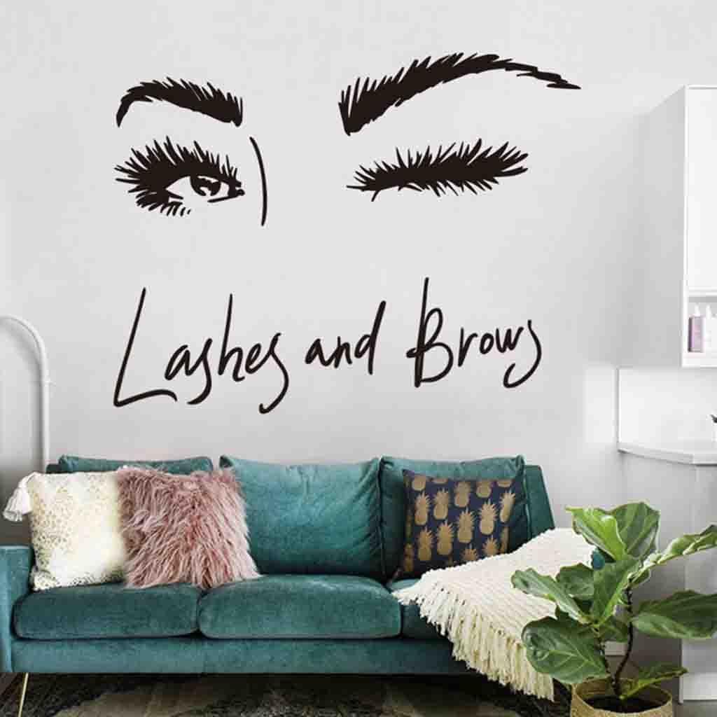 Us 1 37 33 Off Bathroom Sticker Wall Art Sticker Eye Lashes Extensions Beauty Salon Wall Decor Eyebrows Make Up Room Stickers In Wall Stickers From