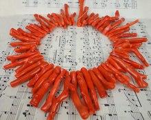 Tamaño grande, coral natural de bambú Top perforado rama del filamento del grano, alta calidad coral naranja tribal COLLAR COLGANTE largo 6-10×35-60mm