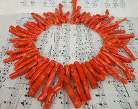 Big Size,Natural Bamboo Coral Top Drilled Branch Bead Strand,High Quality Orange Coral Tribal Necklace Long Pendant 6 10x35 60mm