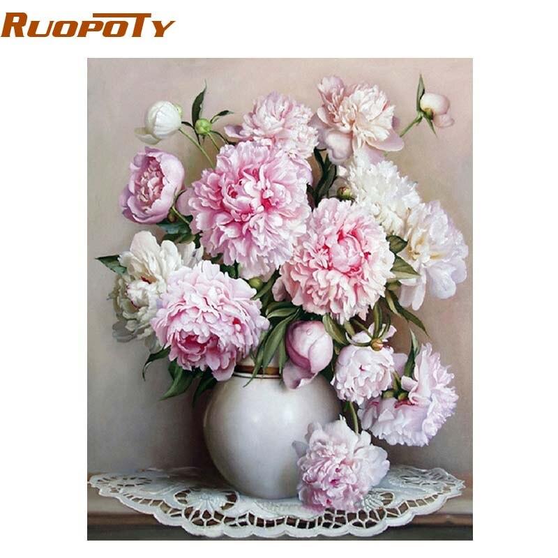 RUOPOTY marco Rosa flor DIY pintura por números pintura de acrílico ...