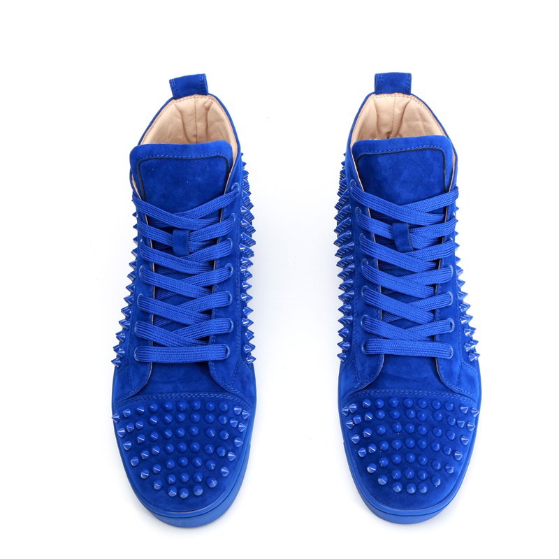 Men Sneakers High Top Suede Men Casual Shoes Star Runway Shoes Men Flats Front Lace Up Luxury Brand Rivets Embellished Shoes