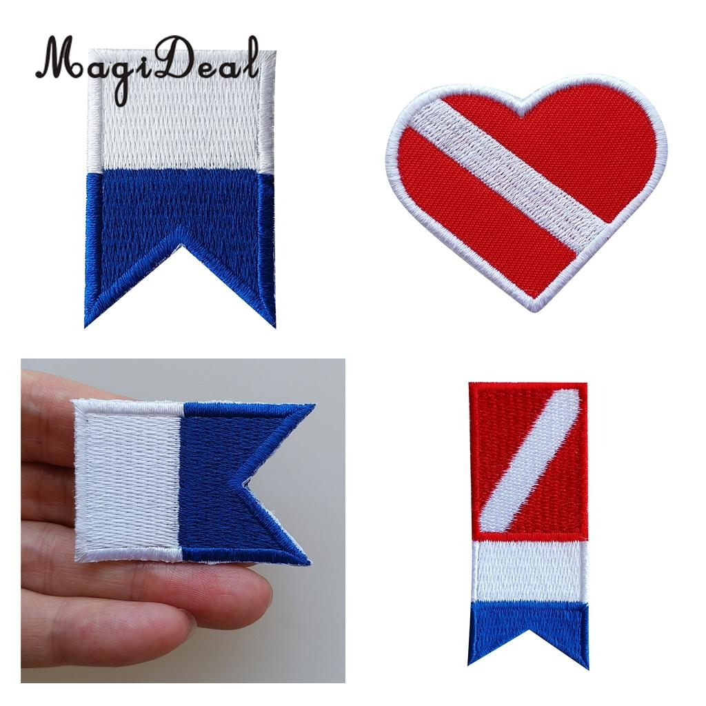 Scuba Diving Dive Diver Down Flag Sew On Embroidery Patch Alpha Flag Iron-on Embroidered Badge Vest Bag Cap Patches Applique