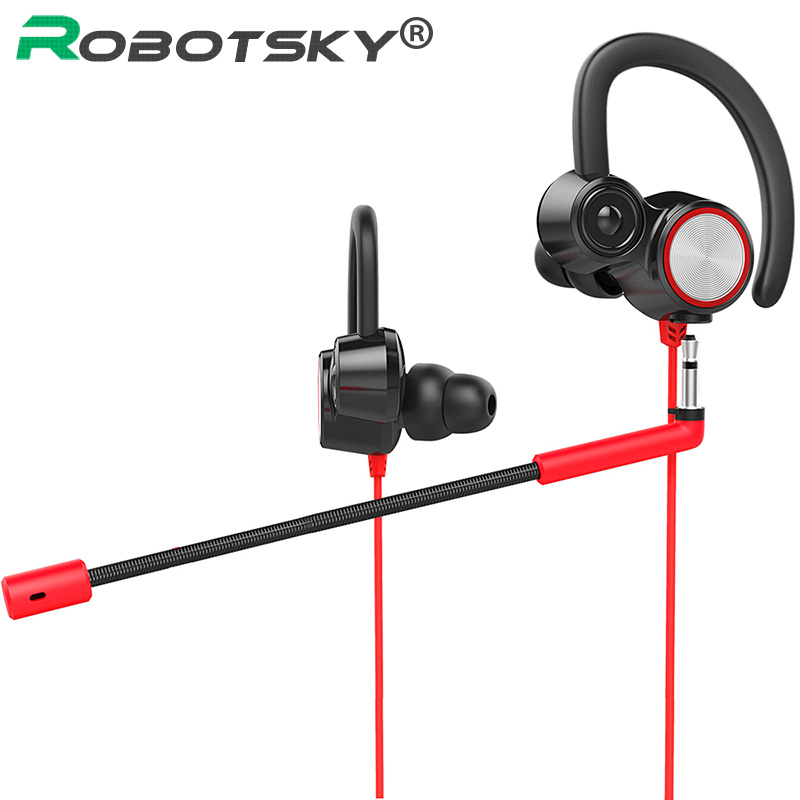 Robotsky V6 Gaming Headset Dual Micphone in-ear Wired Earphone for Phone PC Laptop