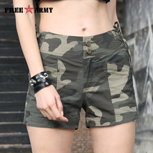 FREEARMY Summer Shorts Women Sexy Casual High Waist Drawstring Military Camouflage Spandex Cotton Cycling Ladies