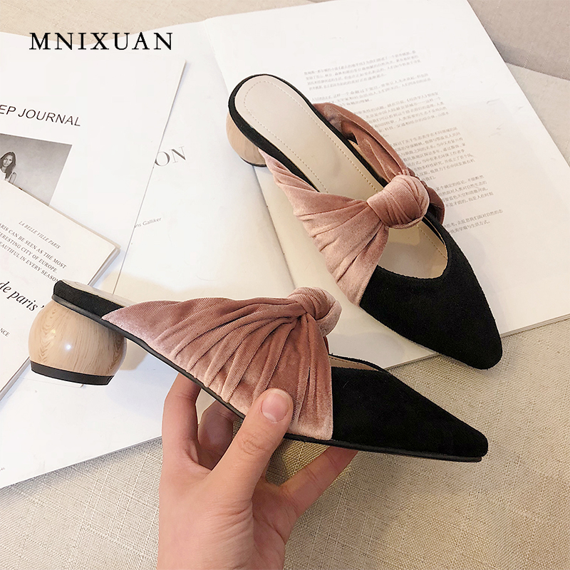 MNIXUAN Classics women shoes mules outdoor casual slippers 2019 spring summer new pointed toe leather suede