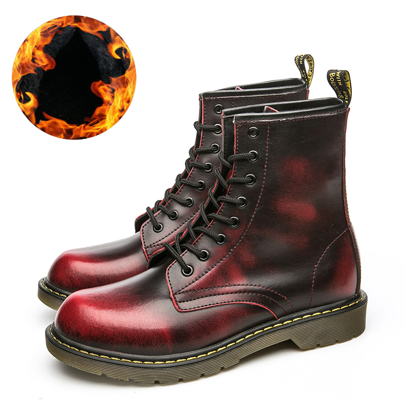 Men's Martin Boots Winter /Autumn Big Size Men Mid-Calf Boots Casual Work Boots Leather Ankle Mens Retro Snow Boots Men цена
