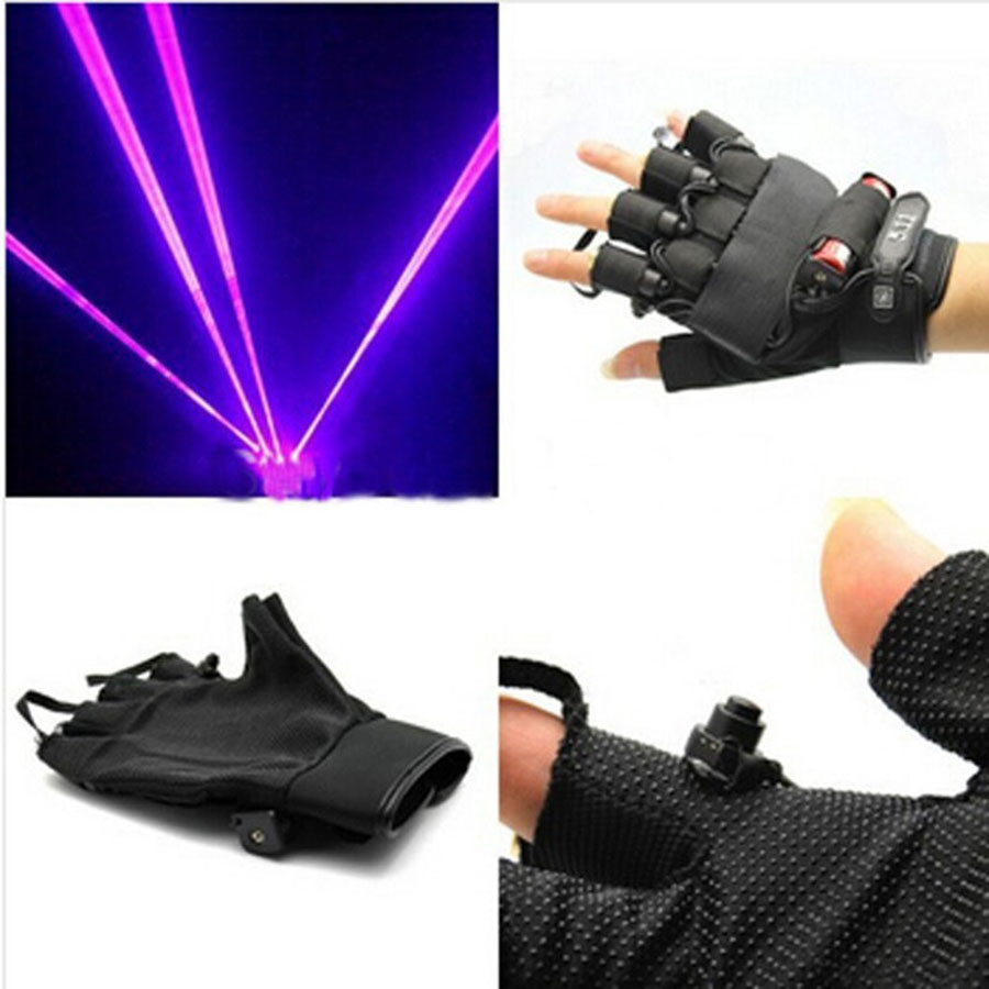 Drop ship violet Laser Gloves With 4pcs 405nm Laser ,LED Stage Gloves Luminous Gloves For DJ Club/Party Show Purple novelty led laser gloves green red led bulb with battery dance show finger gloves laser for disco music party stage lighting