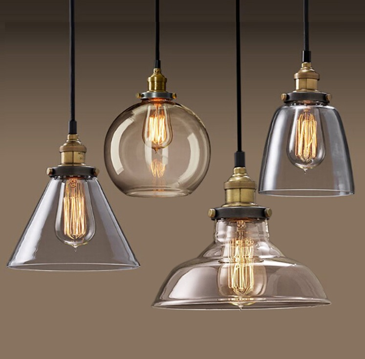 Barn Light Homestead Pendant / Flared Glass Shade / 1m Hung Cord Cable / Timeless Style / Country Charm