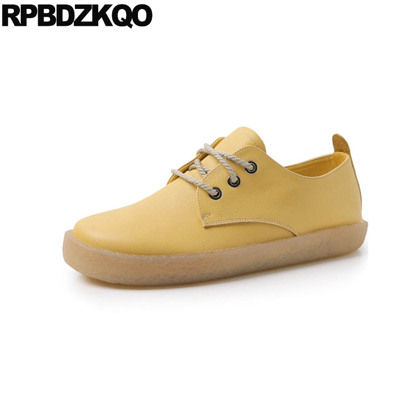 Designer Round Toe Flats Lace Up Wide Fit Shoes Ladies 2018 Women China Harajuku Genuine Leather Female Chinese Yellow Oxfords foreada genuine leather shoes women flats round toe lace up oxfords shoes real leather casual boat shoes brown pink size 34 40