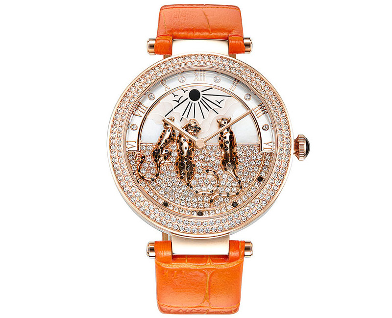 Lovely Leopards Decorated Women Crystals Watches New Designer Imported Quartz Dress Wrist watch Big Size Montre Femme WA146-in Women's Watches from Watches    3