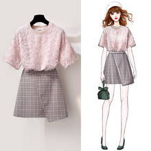 ICHOIX Korean Pink t shirt 2 pieces skirt sets summer elegant pices women plaid casual two piece girl outfits set