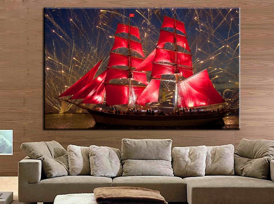5d Diamond vyšívání krajina červená plachetnice Diamond - Umění, řemesla a šití