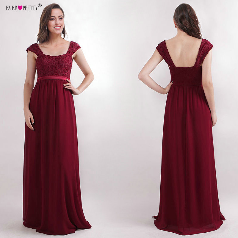 Affordable Wedding Guest Dresses: Burgundy Bridesmaid Dresses Long 2018 Ever Pretty New