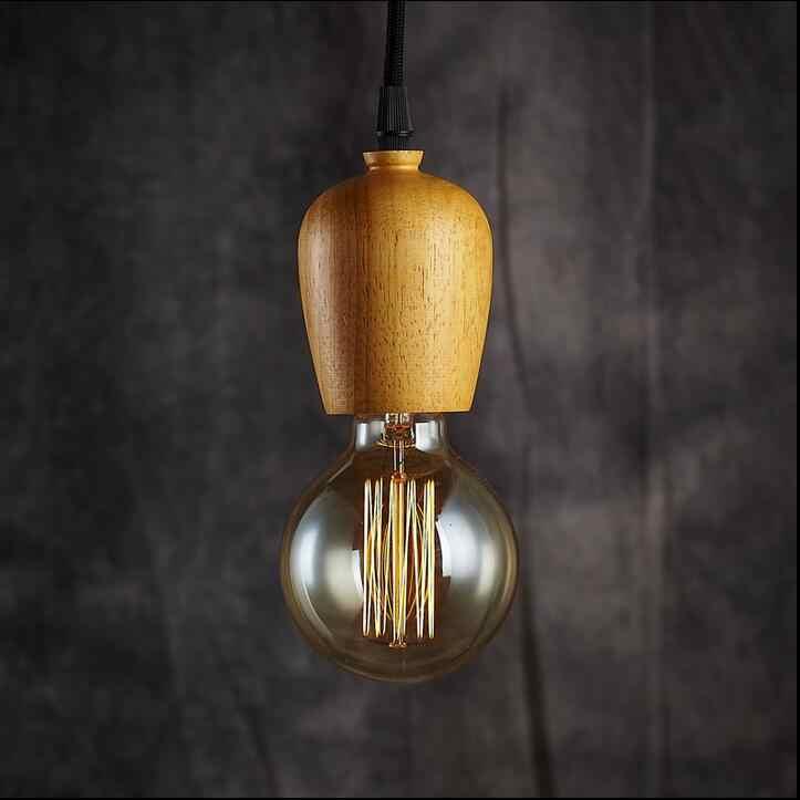 Sederhana LOFT art led Chandelier dipimpin lampu Chandelier Ruang Tamu Restoran kayu Alami lampu E27 led lustre cahaya Chandelier
