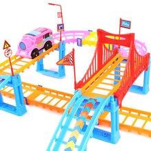 DIY Track elektromos vasúti autó játékok gyerekeknek Hand-Brain Koordinációs vasúti pálya autópálya autós játék vicces oktatási játékok
