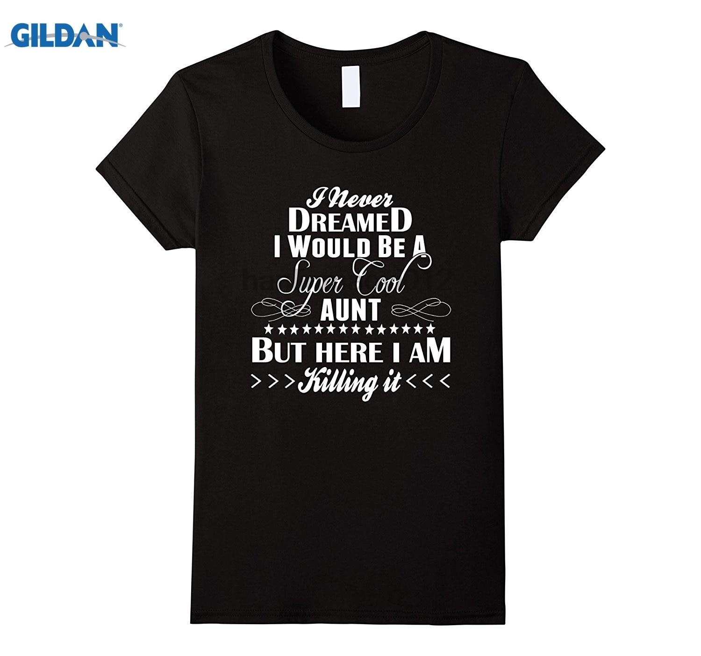 GILDAN Womens Super Cool Aunt T-Shirt Coolest Auntie Around Tee Dress female T-shirt