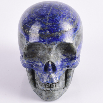 3inch lapis lazuli refinement Skull figurine natural stone mineral Carved Realistic statue healing Home Ornament art collectible 1