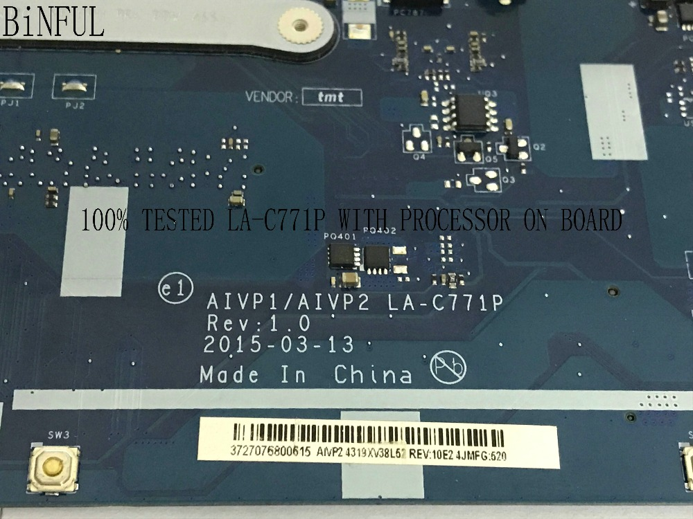 BiNFUL SUPER TESTED PROCESSOR ON BOARD AIVP1/AIVP2 LA-C771P FREE SHIPPING LAPTOP MOTHEBOARD FOR LENOVO 110-15IBY NOTEBOOK