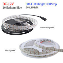 LED Strip 3014 204 LED/meter DC12V Waterproof White / Warm White Super Bright Flexible LED Light 5m/lot