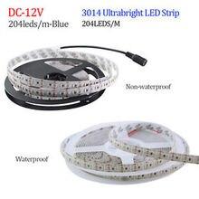 Taśma LED 3014 204 LED/metr DC12V wodoodporna biała/ciepła biała Super jasna elastyczna dioda LED 5 m/partia