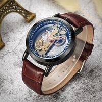 Skórzany pasek męskie zegarki automatyczne Hollow rzeźbione szkielet luksusowe relogio zegarek mechaniczny dropshipping w Zegarki mechaniczne od Zegarki na