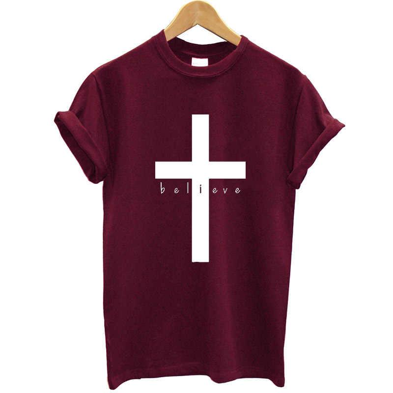 おかしい夏トップス信仰 Tシャツクリスチャンイエス服女性 Tシャツファム綿 Tシャツ女性半袖 O ネック