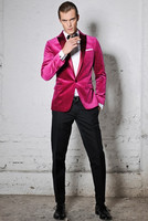 2018 Latest Coat Pant Designs Hot Pink Velvet Custom Blazer Tuxedo Colorful Wedding Suits For Men 2 Pieces Slim Fit Terno 28