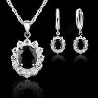 JEXXI Black Oval CZ Jewelry Sets 925 Sterling Silver Pendant Necklace Hoop Earring Princess Wedding Engagement
