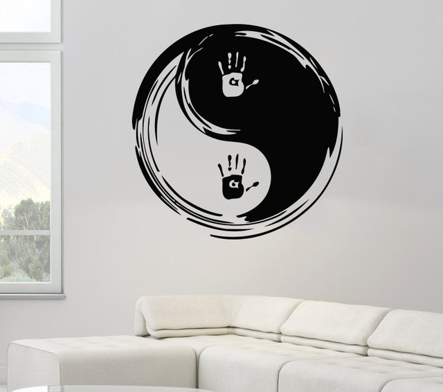 Art designed wall stickers chinese traditional ying yang pattern with hnad print cool mural home livingroom