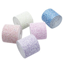 1 Yard 3 ''75mm Glitter Leer Stof Lint Tapes (Discontinue) maken Bows Blingbling Cadeaupapier DIY Materiaal, 1Yc5754(China)
