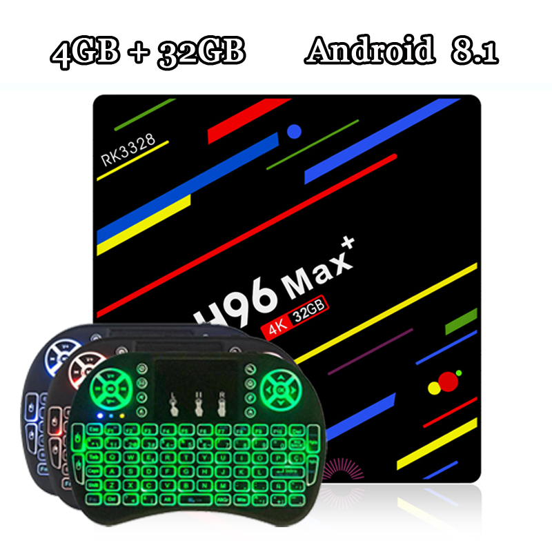 RUIJIE H96 MAX Plus Tv Box Android 8.1 Rockchip RK3328 Quad Core 4GB RAM 32GB ROM Smart Tv 2.4G Wifi H.265 4K H96 MAX + h96 max 4gb ram 64g rom android 7 1 smart tv box 2 4g 5g wifi rockchip rk3328 quad core support h 265 bt4 0 4k pk tx9 pro x92