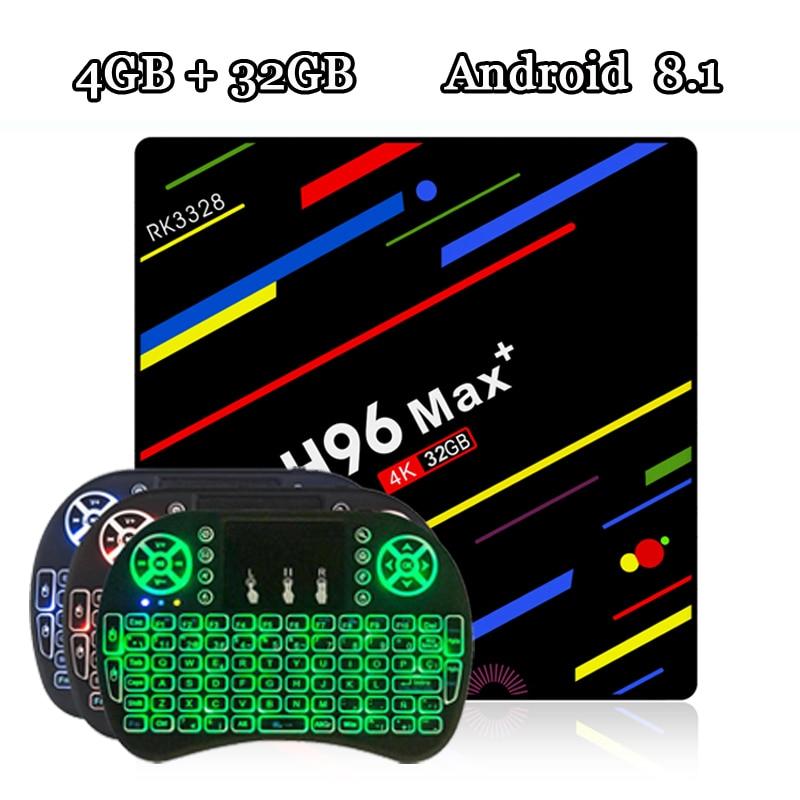 RUIJIE H96 MAX Plus Tv Box Android 8.1 Rockchip RK3328 Quad Core 4 gb RAM 32 gb ROM Smart Tv 2.4g Wifi H.265 4 k H96 MAX +
