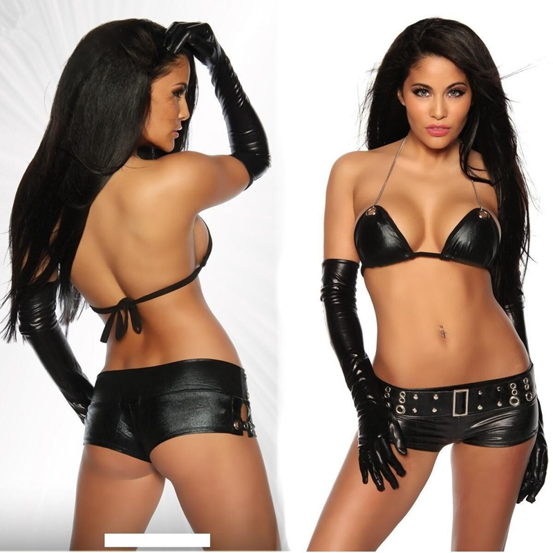 CFYH New Hot sale <font><b>Sexy</b></font> <font><b>Lingerie</b></font> Women Black <font><b>Leather</b></font> Underwear Costumes <font><b>Babydoll</b></font> <font><b>Lingerie</b></font> <font><b>Sexy</b></font> women Pirate Costumes image