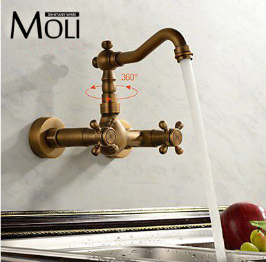 ФОТО Antique kitchen faucet wall cold and hot double handle kitchen water mixer tap
