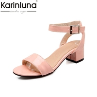 Newest Women Sandals Concise Style Shoes For Lady Open Toe Less Platform Square Low Heels Buckle