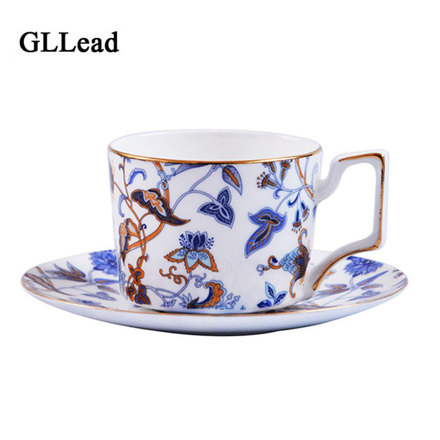 Gllead Avalon Bone China Coffee Cup Breakfast Milk Cups European Style Top Grade Fashion Porcelain Teacups