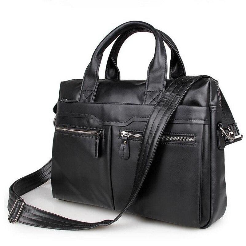 Genuine Leather Briefcase Men Bag 14 inch Laptop Soft Cowhide Messenger Bag Handbag Bag,Men's Bags Business Work