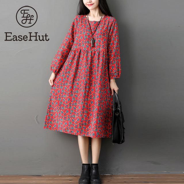 29a5e20c059 EaseHut Autumn Sundress Casual Long Sleeve XXL Women Vintage Printed Cotton  Linen Loose Midi-Carf Dress Vestidos Robe Dresses