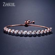 ZAKOL Trendy Bride Jewelry Clear CZ Crystal Leaf Charm Cubic