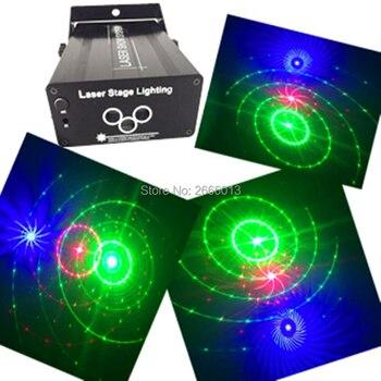 Niugul Laser Luci Musica Spettacolo DJ Grande Modelli Combinazioni Laser Gobo Proiettore Indoor 3 Lens 3 di Colore RGB Luce Della Decorazione