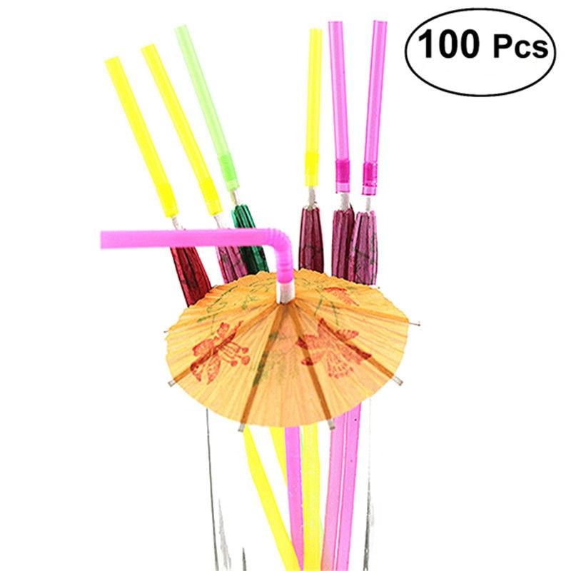 multicolour Cocktail Accessories Home, Furniture & Diy Beautiful Plastic Umbrella Designed Drinking Straws Pack Of 50 Pcs
