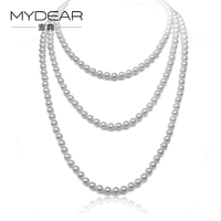 MYDEAR Long Pearl Necklace Women Natural 6 5 7mm Saltwater Pearls Sweater Chains Jewelry White High
