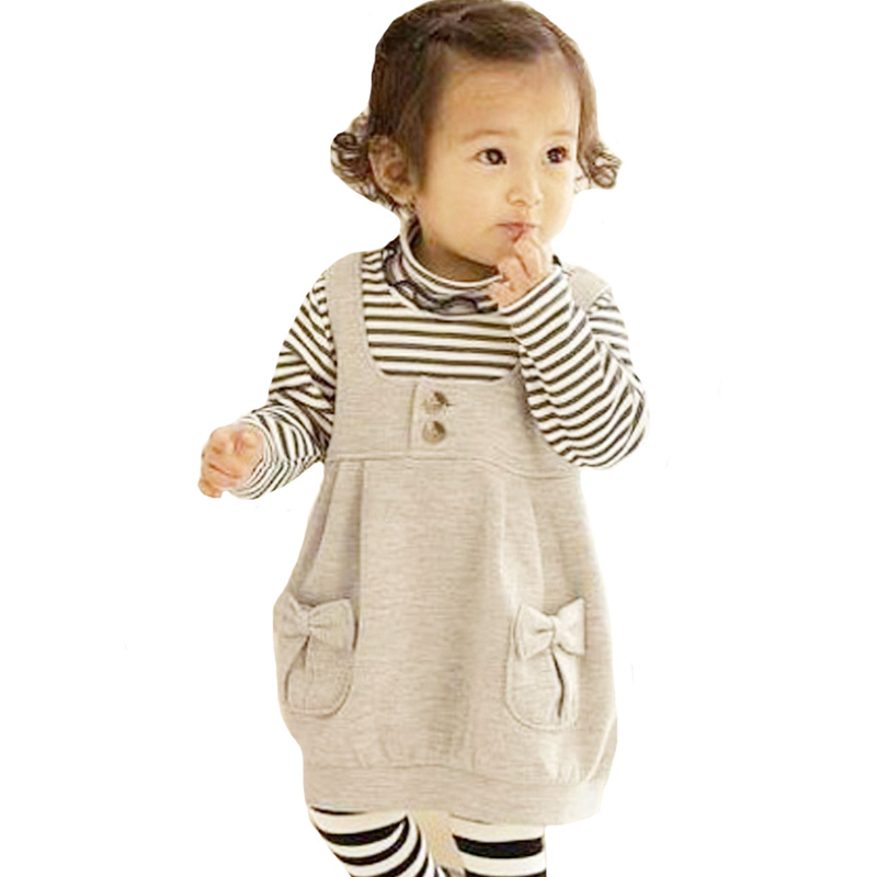 Kids Girl Clothing Set Autumn Fashion Stripe Pattern Long Sleeve T shirt+Bow Pocket Vest 2pcs Baby Girls Clothes Outfits Suit bear leader autumn girls clothes baby girl clothing sets flower bow cute suit kids long sleeve top t shirt pants 2pcs