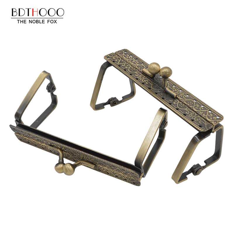 9cm Square Metal Purse Frame Handle For Clutch Bag Handbag Accessories Making Kiss Clasp Lock Antique Bronze Bags Hardware