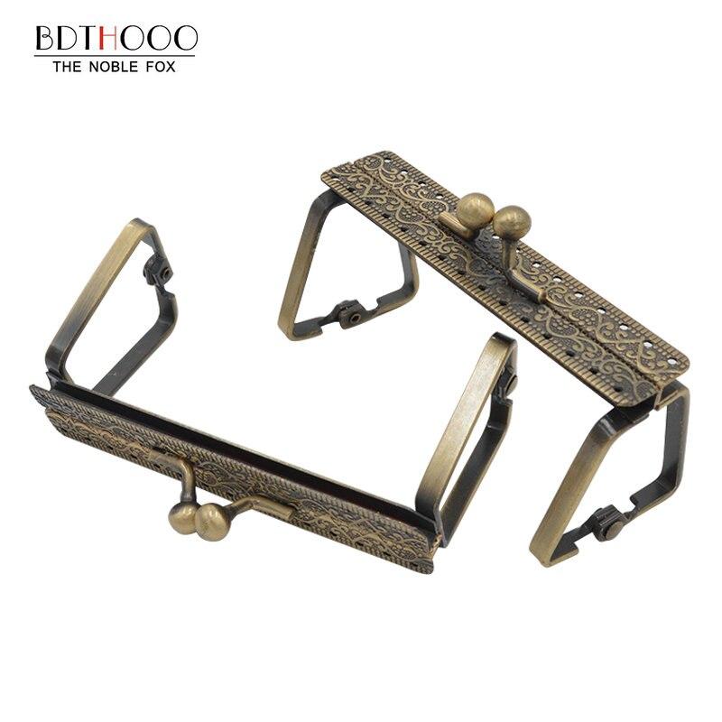 9cm Square Metal Purse Frame Handle For Clutch Bag Handbag Accessories Making Kiss Clasp Lock Antique Bronze Bags Hardware