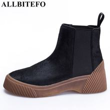 hot deal buy allbitefo natural horsehair design non-slip women ankle boots platform boots fashion winter high quality girls motorcycle boots