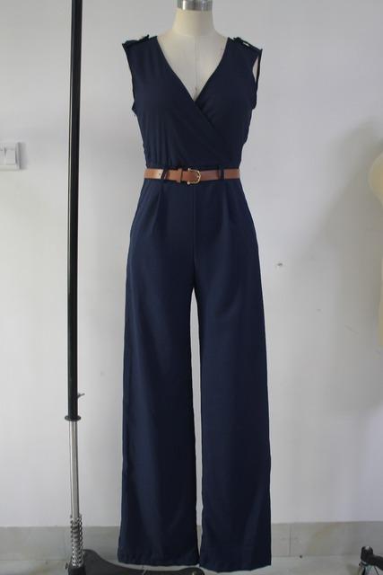 Jumpsuit Long Pants Overalls Dear Lover 2016 Women's Fashion Red V Neck Belt Embellished Elegant Playsuit Lady Work Wear LC64003
