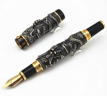 NEW JINHAO GRAY FOUNTAIN PEN BROAD NIB TWO DRAGON PLAY THE PEARL WITHOUT ORIGINAL BOX(China)